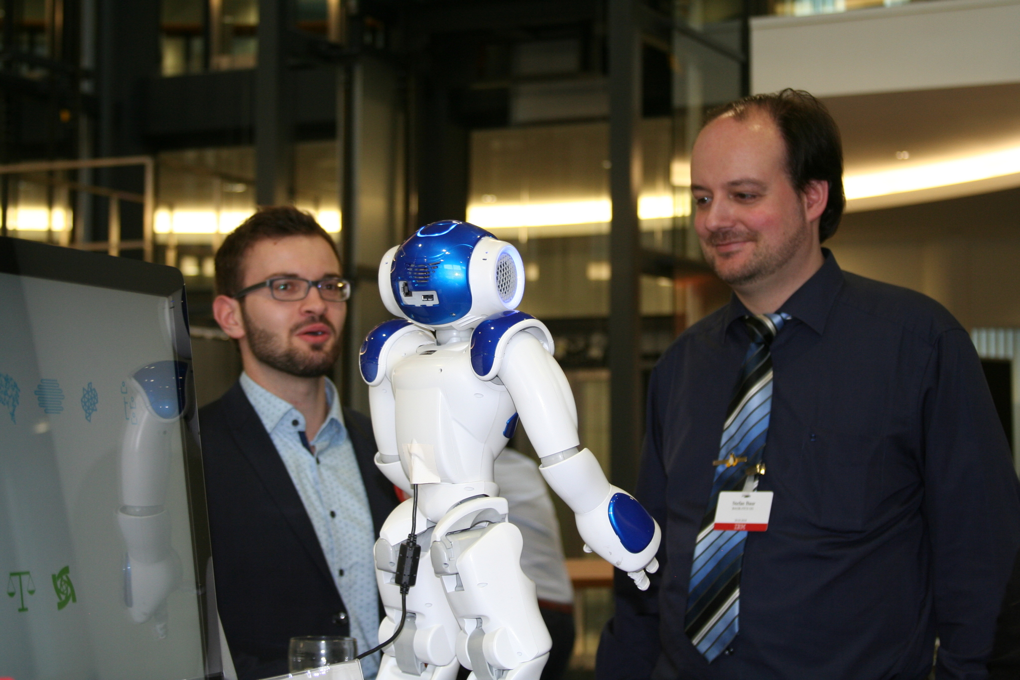 Stefan interacting with a NAO-Bot named Marvin